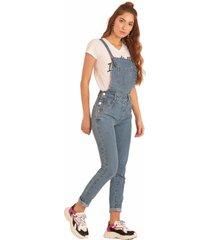jardineira jeans pkd concept despojada azul - azul - feminino - dafiti