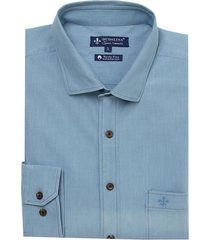 camisa ml maquinetado light blue cancela (jeans claro, 7)