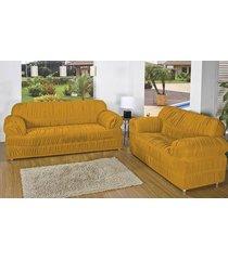 capa de sofá brastuca 2 peças 21 elásticos amarelo