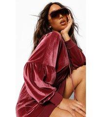 velours sweater jurk met geplooide middel en capuchon, rose pink