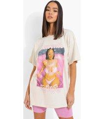gelicenseerd oversized saweetie t-shirt, stone