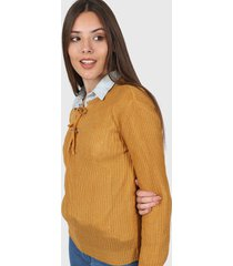 sweater mostaza moni tricot hojalillos