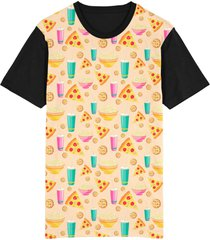 camiseta tshirt migian pizza cookie pipoca sublimada bege