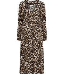 klänning vileoletta l/s midi dress, leopardmönstrad