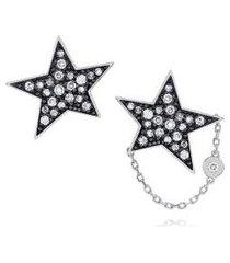 brinco pave estrela branco c/diamante ttlb e branco - u