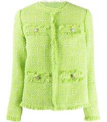brognano frayed tweed jacket - green