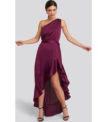 trendyol flounce detailed evening dress - pink