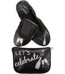 women's flipflats let's celebrate foldable flats pouch, set of 2