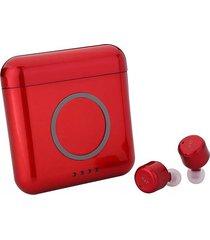 audifonos bluetooth inalámbricos estéreo con mic caja de carga-rojo