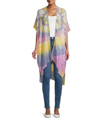 lulla collection by bindya women's tie-dyed open-front kimono