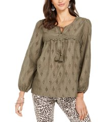 style & co petite eyelet tassel blouse, created for macy's