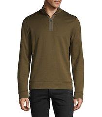 long-sleeve cotton-blend sweatshirt