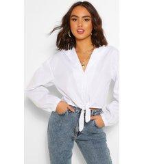 katoenen blouse met strik, wit