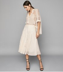 reiss ultana - lace detailed midi skirt in nude, womens, size 10