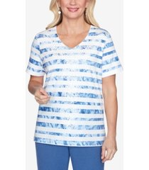 alfred dunner tie-dye striped short sleeve knit top