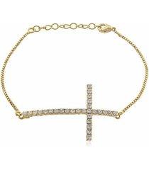 pulseira crucifixo cristal di capri semi jóias x ouro dourado