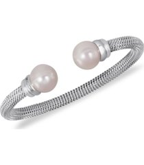 majorica stainless steel man-made pearl bangle bracelet (10mm)
