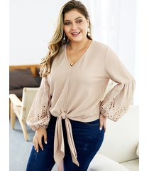 plus size white hollow design v-neck long sleeves knit sweater
