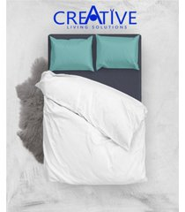 creative living solution white goose feather and down cotton case pillow, king size