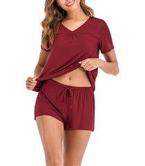 conjunto de pijama de cintura con cordón y mangas cortas con cuello en v