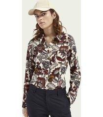 scotch & soda slim fit blouse met knoopsluiting