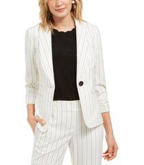 kasper stitched striped shawl-collar one-button blazer