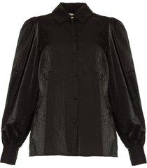 blouse met pofmouwen mauri  zwart
