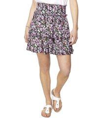 falda corta capas lila flores mujer corona