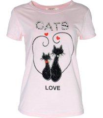 blusa infinity fashion t-shirt cats rosê - kanui