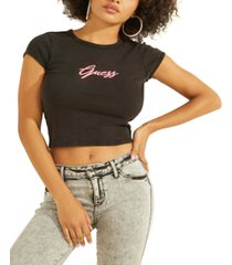 guess fitted cropped logo top