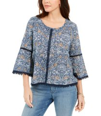 style & co printed lantern-sleeve top, created for macy's
