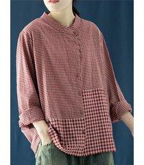 camicetta allentata con bottoni a maniche lunghe con colletto alla coreana stampa scozzese vintage