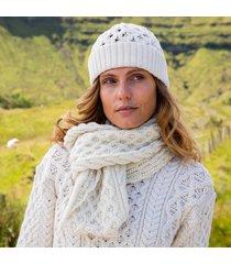 womens cream cozy aran hat & scarf set