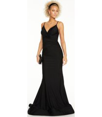 glamour by terani juniors' stretch satin gown