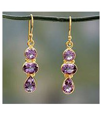 amethyst and gold vermeil dangle earrings, 'lilac triad' (india)