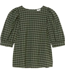 check puff sleeve blouse