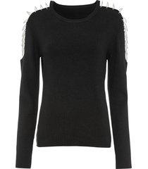 maglione a costine con catenelle di strass (nero) - bodyflirt boutique