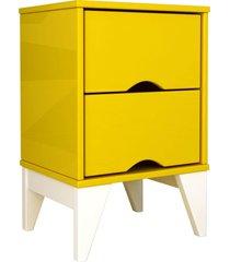 mesa de cabeceira 2 gav. twister amarelo/branco tcil mã³veis - amarelo - dafiti