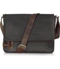 chiarugi designer men's bags, black leather messenger bag