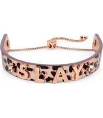 bcbgeneration rose gold-tone crystal slay leopard-print leather slider bracelet