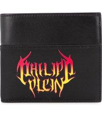 philipp plein flame logo print wallet - black
