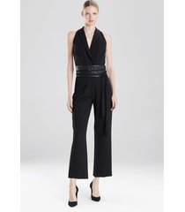 crepe tuxedo jumpsuit, women's, black, size 4, josie natori