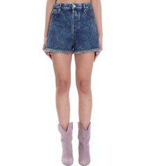isabel marant étoile shorts in blue cotton