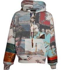 souvenir patchwork printed hoodie