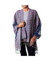 jamawar wool shawl, 'orchid paisley' (india)