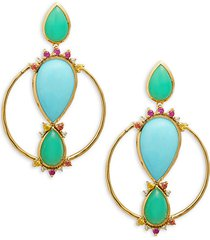 prisma 18k yellow gold multi-stone mixed-cut hoop earrings