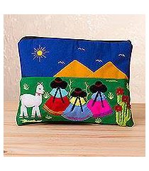 cotton blend cosmetic bag, 'walk in the countryside' (peru)