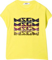 msgm yellow t-shirt with sequins