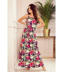 294-1 długa letnia sukienka na ramiączkach