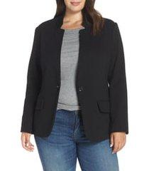 plus size women's gibson inverted notch collar cotton blend blazer, size 1x - black